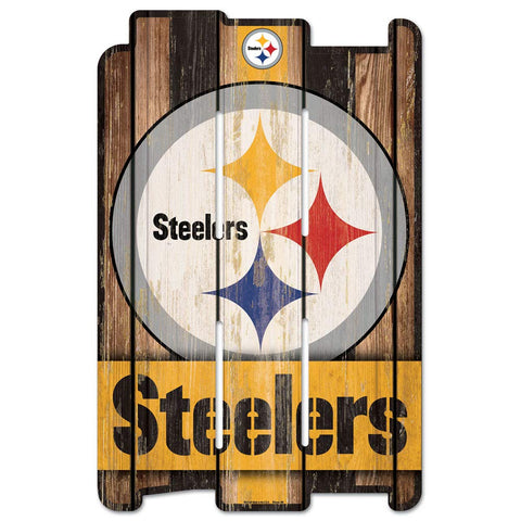WinCraft NFL WCR11384115 Pittsburgh Steelers Wood Fence Sign, Black