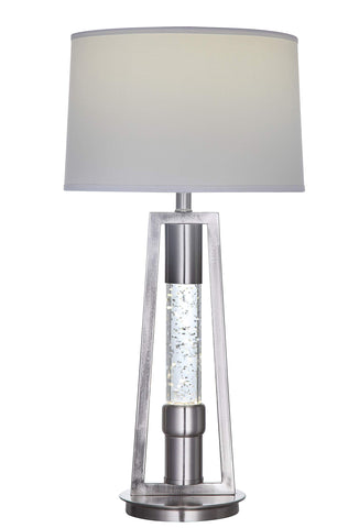 ArtFuzz 15 inch X 15 inch X 31 inch Brushed Nickel Metal Glass LED Shade Table Lamp