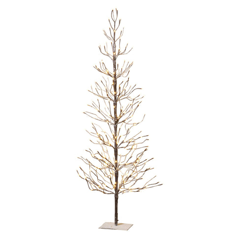 Gerson International 2280950 6'H Electric Snowy Tree with 2 Home Decor, 47.5InL x 4InW x 7InH, Brown