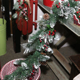 The Gerson Company Pack of Two 6' PVC Red Berries and Pinecones Snowy Garland, 2 Piece