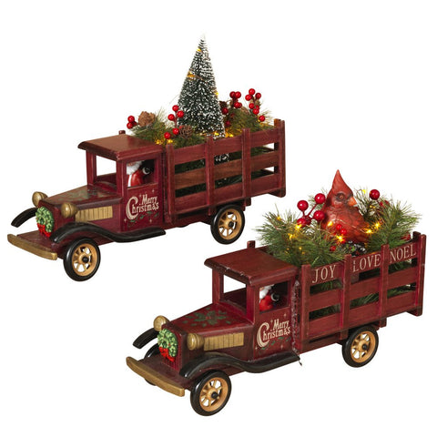 The Gerson Company Battery Operated Lighted Wood Antique Christmas Holiday Trucks Set Decoration