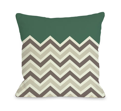 One Bella Casa Chevron Solid - Emerald Throw Pillow by OBC 18 X 18