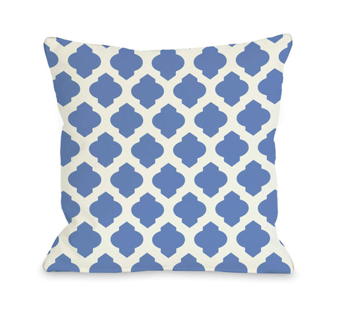 All Over Moroccan Pillow, Palace Blue Ivory