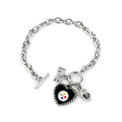 Aminco International NFL Pittsburgh Steelers Charmed Love Football Bracelet