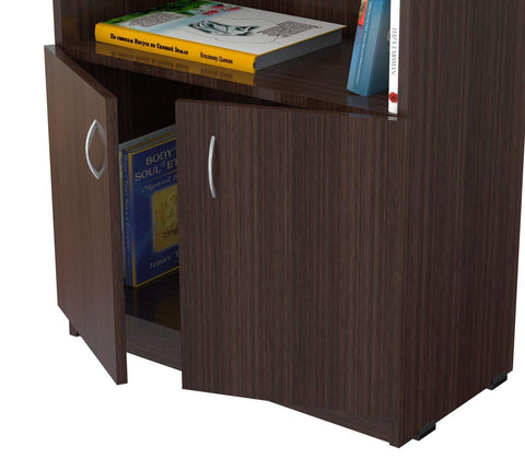 63 inch Espresso Melamine and Engineered Wood Bookcase with a Storage Area