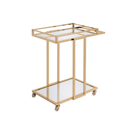 ArtFuzz 17 inch X 29 inch X 33 inch Gold Metal Mirror Casters Serving Cart