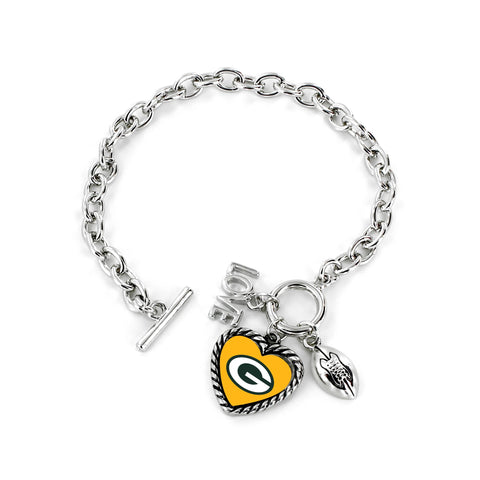 Aminco International NFL Green Bay Packers Charmed Love Football Bracelet