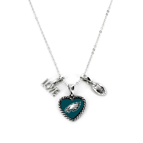 Aminco International NFL Philadelphia Eagles Charmed Love Football Necklace