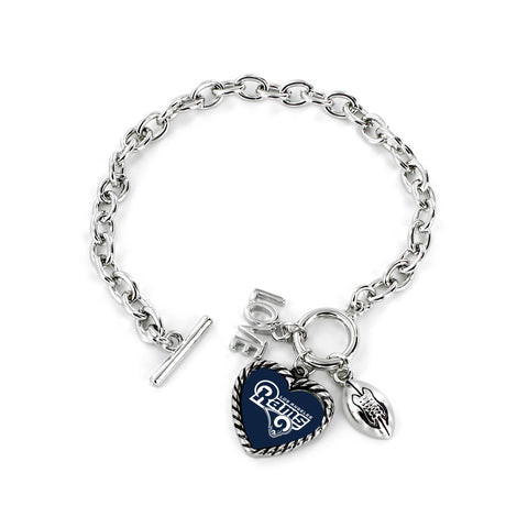 Aminco International NFL Los Angeles Rams Charmed Love Football Bracelet
