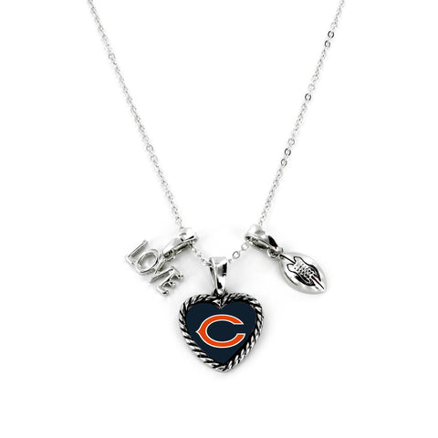 Aminco International NFL Chicago Bears Charmed Love Football Necklace
