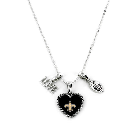 Aminco International NFL New Orleans Saints Charmed Love Football Necklace