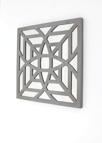 ArtFuzz 23.25 inch X 1.25 inch X 23.25 inch Gray Contemporary Mirrored Square Wooden Wall Decor