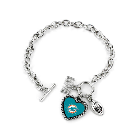 Aminco International NFL Miami Dolphins Charmed Love Football Bracelet