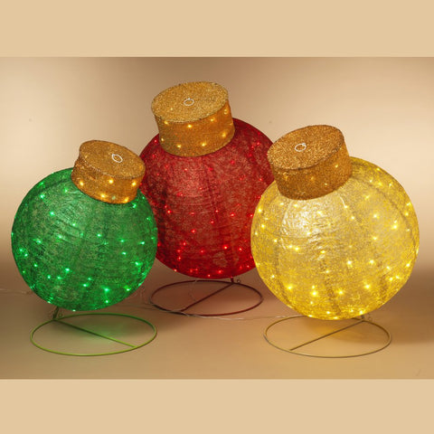 3 Assorted Giant Outdoor LED Red, Green & Yellow Christmas Ornaments, Electric