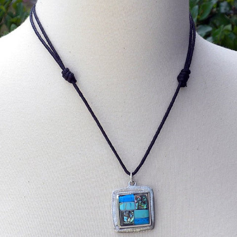 Artisana Turquoise and Abalone Square Pendant Necklace