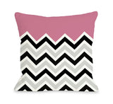 One Bella Casa Chevron Solid - Pink Throw Pillow by OBC 16 X 16