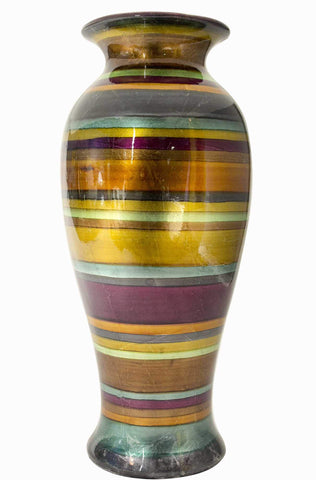 ArtFuzz 21 inch Ceramic Vase - Eggplant, Bronze, Gold, Green, Copper and Pewter in Eggplant, Bronze, Gold, Green, Copper and Pewter