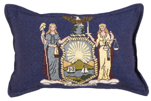 Simply Flag of New York Small Tapestry Pillow