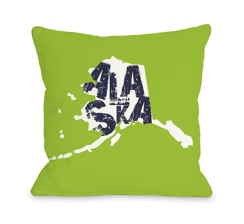 Alaska State Type Throw Pillow by OBC 18 X 18