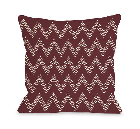 Athena Tier Chevron - Chocoate Truffle Cream Throw Pillow by OBC 18 X 18