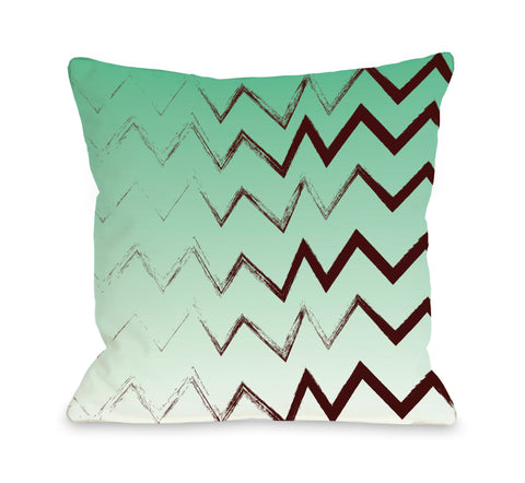 Charlie Bristle Chevron - Green Throw Pillow by OBC 18 X 18