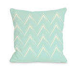 Sabrina Brush Chevron - Fair Aqua Throw Pillow by OBC 18 X 18
