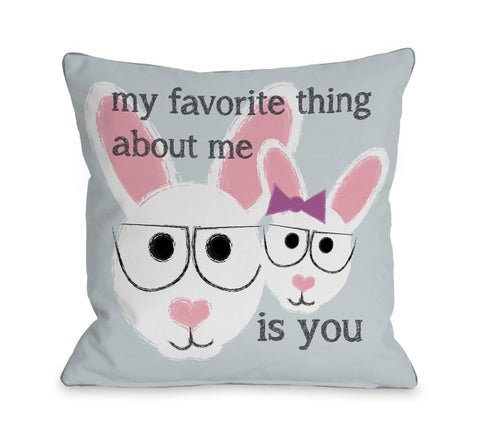 Favorite Thing About Me Bunnies Throw Pillow by OBC 18 X 18