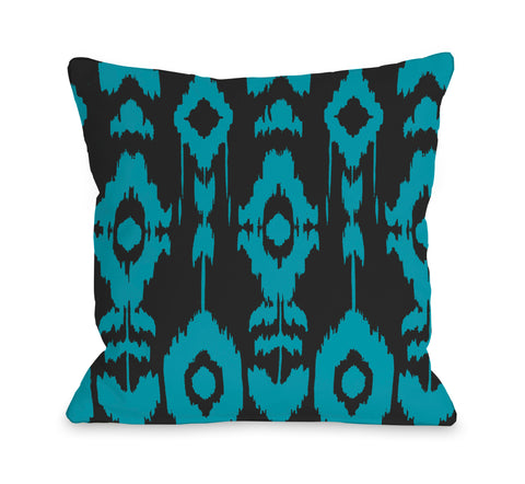 Forever Ikat - Dark Gray Peacock Blue Throw Pillow by OBC 18 X 18