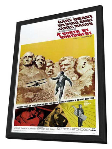 North By Northwest 27 x 40 Movie Poster - Style D - in Deluxe Wood Frame