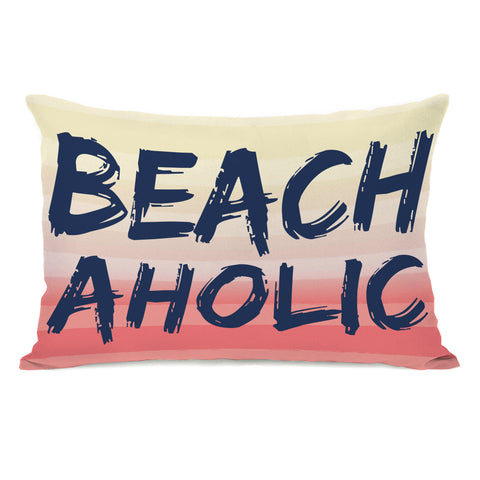 Beachaholic - Multi Navy Lumbar Pillow by OBC 14 X 20