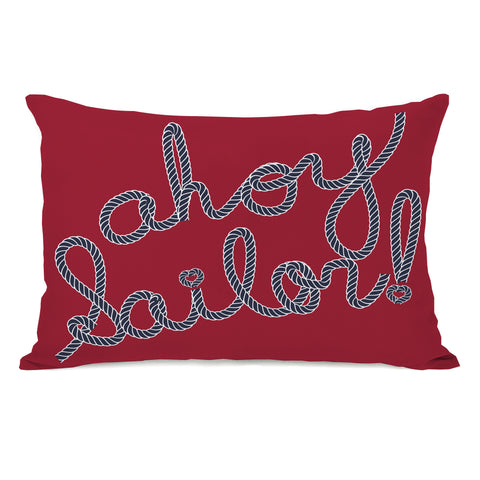 Ahoy Sailor Rope - Red Blue Lumbar Pillow by OBC 14 X 20