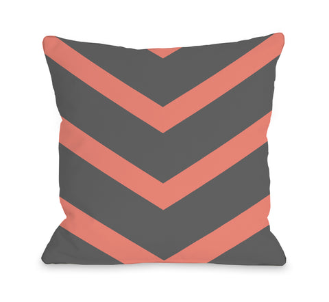 Isabella Reversible Chevron - Coral Gray Throw Pillow by OBC 18 X 18