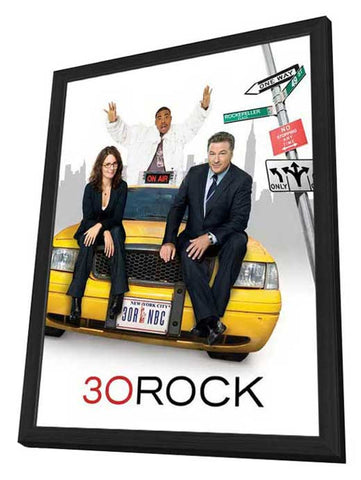 30 Rock 27 x 40 TV Poster - Style B - in Deluxe Wood Frame