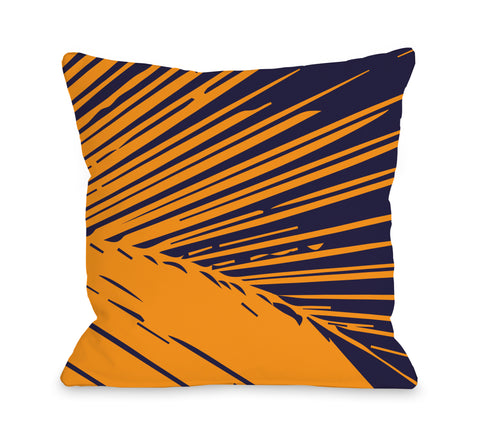 Alaiya Palm Leave - Navy Orange Throw Pillow by OBC 18 X 18