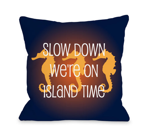 Slow Down on Island Time - Navy Orange Throw Pillow by OBC 18 X 18