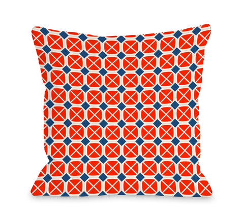 Abegayle Geo - Red Navy Throw Pillow by OBC 18 X 18