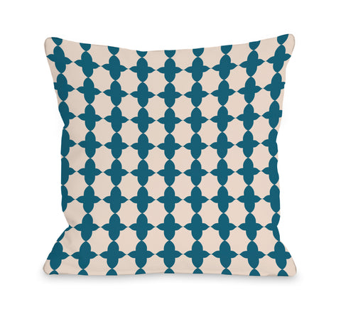 Madison Moroccan - Blue Green Throw Pillow by OBC 18 X 18