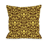 Athena Florals - Expresso Yellow Throw Pillow by OBC 18 X 18