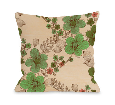 Elegant Sweep - Wood Green Multi Throw Pillow by OBC 18 X 18