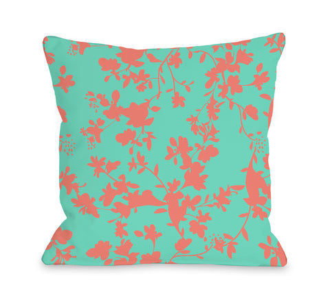 Penelope Florals - Turquoise Coral Throw Pillow by OBC 18 X 18