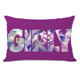 Girly Flowers - Purple Multi Lumbar Pillow by OBC 14 X 20