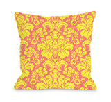Altair Fleur - Pink Yellow Throw Pillow by OBC 18 X 18