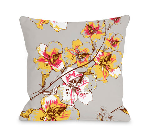Abstract Flowers - Grey Multi Throw Pillow by OBC 18 X 18