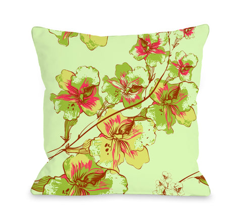 Abstract Flowers - Green Multi Throw Pillow by OBC 18 X 18