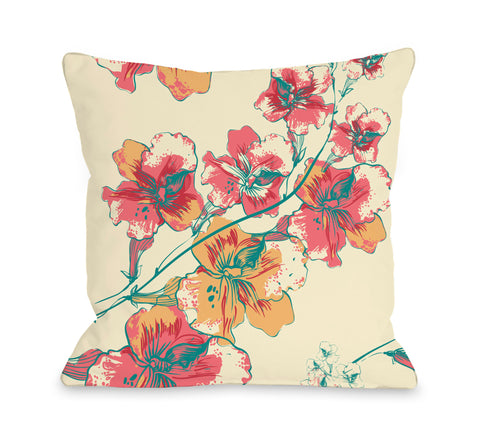 Abstract Flowers - Cream Multi Throw Pillow by OBC 18 X 18