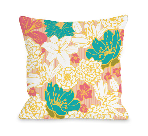 Ornate Florals - Coral Multi Throw Pillow by OBC 18 X 18