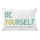 Be Yourself - Cream Greens Lumbar Pillow by OBC 14 X 20