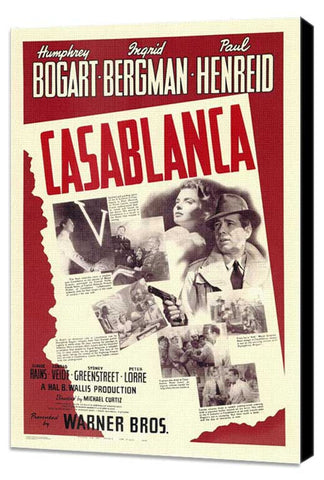 Casablanca 11 x 17 Movie Poster - Style V - Museum Wrapped Canvas