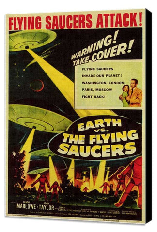 Earth vs. the Flying Saucers 11 x 17 Movie Poster - Style B - Museum Wrapped Canvas