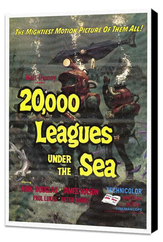 20,000 Leagues Under the Sea 27 x 40 Movie Poster - Style A - Museum Wrapped Canvas